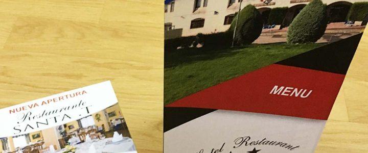 Carta de menu y flyer de Hotel Restaurante La Rad