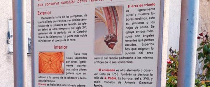 Cartel informativo de la Iglesia de El Pedroso